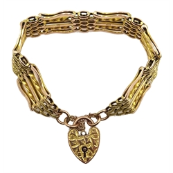 Edwardian gold five bar gate link bracelet, with heart locket clasp, stamped 9ct, approx 19.1gm