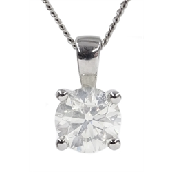 18ct white gold diamond single stone pendant stamped 750, diamond approx 1.2 carat, on white gold chain hallmarked 18ct