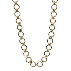 Gold link chin necklace stamped 9K, approx 22.8gm