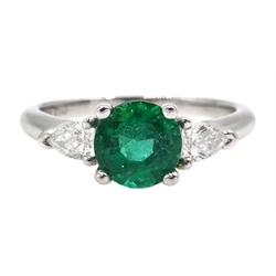 White gold round emerald and pear shaped diamond ring, hallmarked 18ct, emerald approx 1 carat