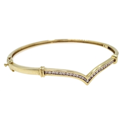 9ct gold diamond set wish bone hinged bangle, stamped 375