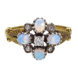 Silver-gilt opal and cubic zirconia cluster ring, stamped sil