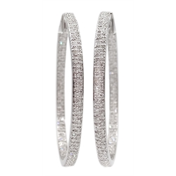 Pair of white gold diamond hoop earrings, stamped 9K, diamonds total weight 1 carat