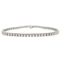 18ct white gold diamond line bracelet, hallmarked, total diamond weight approx 4.3 carat