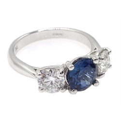 18ct white gold three stone diamond and sapphire ring, hallmarked 18ct, sapphire approx 1.5 carat, diamond total weight approx 1.1 carat