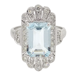 18ct white gold aquamarine and diamond dress ring, stamped 750, aquamarine 2.5 carat