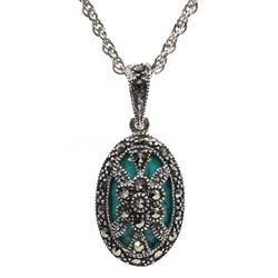 Silver turquoise and marcasite pendant necklace, stamped 925