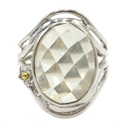 Silver oval green amethyst ring, stamped 925