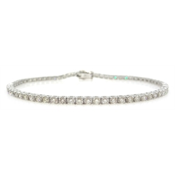 18ct white gold brilliant cut diamond line bracelet, stamped 18K, diamond total weight approx 2.5 carat
