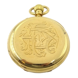 18ct gold half hunter top wind pocket watch, no.8718 by I Parting, London, case marked CG HG, London 1878,engraved decoration on the back case
