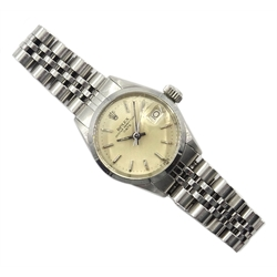 Rolex Oyster Perpetual Date ladies stainless steel wristwatch model no.6516, serial no.2450322, on Jubilee bracelet, with certificate