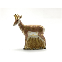 Royal Crown Derby 'Pronghorn Antelope' paperweight, limited edition 624/950, with gold stopper