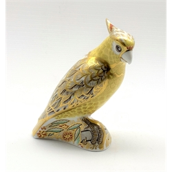 Royal Crown Derby 'Citron Cockatoo' paperweight, with gold stopper