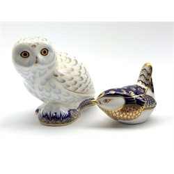 Royal Crown Derby 'Snowy Owl' exclusively for The Royal Crown Derby Collectors Guild and 'Wren' paperweights both with gold stoppers, both boxed