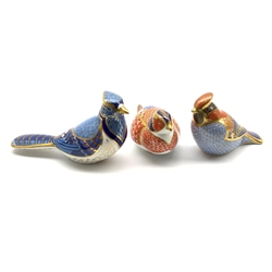 Royal Crown Derby 'Waxwing', 'Blue Jay' and  'Pheasant' paperweights, all without stoppers