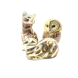 Royal Crown Derby 'Cat', 'Contented Cat' and  'Barn Owl' paperweights, all with gold stoppers