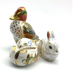 Royal Crown Derby 'Green Winged Teal', 'Bunny' and  'Dormouse' paperweights, all with gold stoppers