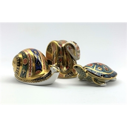 Royal Crown Derby 'Garden Snail', 'Terrapin' and  'Snake' paperweights, all with gold stoppers