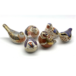 Six Royal Crown Derby bird paperweights, all with gold stoppers