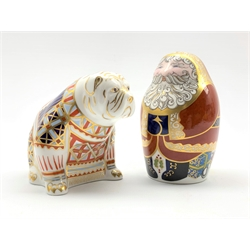 Royal Crown Derby 'Santa Claus' and 'Bulldog' paperweights , both with gold stoppers