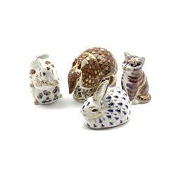 Royal Crown Derby 'Armadillo', 'Kitten', 'Rabbit' and 'Squirrel' paperweights, all with silver stoppers