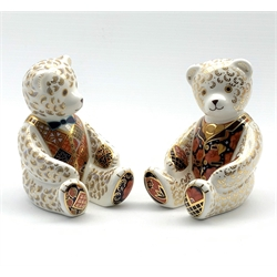 Royal Crown Derby 'Teddy Bear' and 'Debonair Bear' paperweights, both with silver stoppers