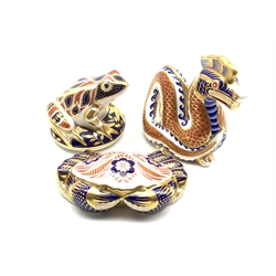 Royal Crown Derby 'Frog', 'Crab' and 'Dragon' paperweights, all with silver stoppers