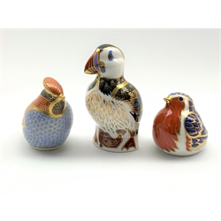 Royal Crown Derby 'Robin', 'Waxwing' and 'Puffin' paperweights, all with silver stoppers