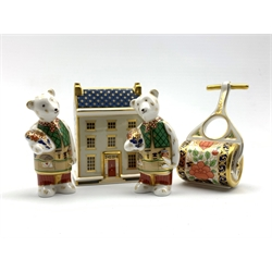 Royal Crown Derby 'Georgian Town House' paperweight with ceramic stopper, two DIY bear paperweights and a garden roller paperweight, without stoppers (4)