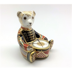 Royal Crown Derby 'Drummer Bear' paperweight, with gold stopper