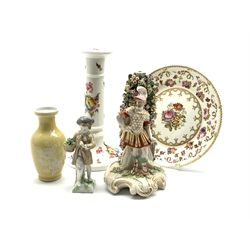 18th Century Derby figure of Mars H23cm (altered) early 19th Century Derby plate painted with flowers in the style of Moses Webster, 19th Century Coalport pattern candlestick H25cm, small Continental figure and an Oriental vase