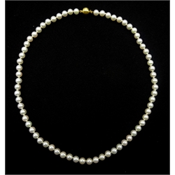 Mikimoto uniform cultured 68 pearl necklace, each pearl 6.5 x 6mm, with 18ct gold clasp hallmarked, in original box