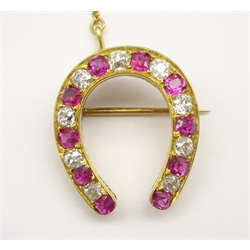 Early 20th century gold ruby and old cut diamond horseshoe brooch