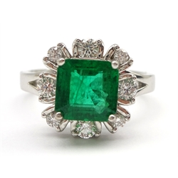 18ct white gold fine emerald and diamond cluster ring hallmarked, emerald 1.50 carat