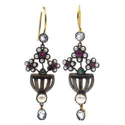 Pair of ruby, seed pearl, topaz and emerald flower and basket design pendant earrings