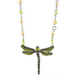 Silver peridot, pearl marcasite and enamel dragonfly necklace, stamped 925