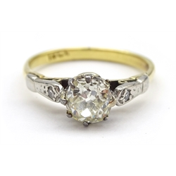 Gold old cut diamond ring, the central diamond of approx 0.40 carat, set with two diamonds either side, stamped 18ct