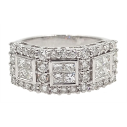 18ct white gold princess cut and round brilliant cut diamond ring hallmarked, diamond total weight approx 1.80 carat