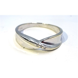 White gold diamond contemporary crossover ring, hallmarked 9ct
