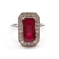 18ct white gold emerald cut ruby and round brilliant cut diamond cluster ring, hallmarked, ruby approx 2.60 carat