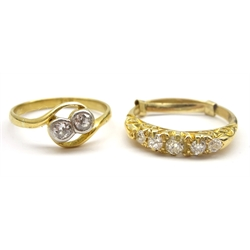 Gold early 20th century five stone diamond ring and a gold two stone crossover ring, stamped 18ct