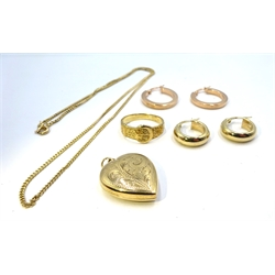 Two pairs of 9ct gold hoop earrings, 9ct gold ring and 9ct gold pendant necklace, all hallmarked or stamped, approx 13.16gm