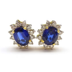 Pair of 18ct gold sapphire and diamond cluster stud earring stamped 750, sapphire total weight 2.40 carat (MAO1802)
