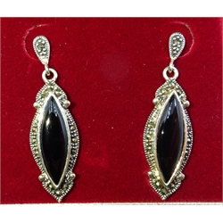 Silver black onyx and marcasite pendant earrings, stamped 925