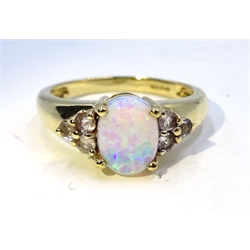 9ct gold opal and white topaz ring, hallmarked