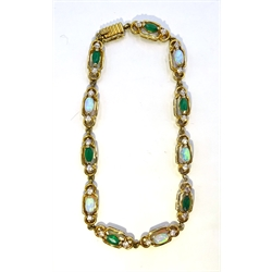 9ct gold opal, green agate and cubic zirconia bracelet, hallmarked
