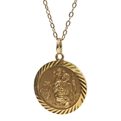 9ct gold St Christopher pendant necklace hallmarked, approx 4.6gm