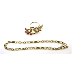 9ct gold ruby leaf design brooch hallmarked and a 9ct gold cable link chain bracelet stamped 375