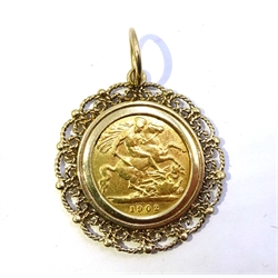 1902 gold half sovereign, loose mounted in 9ct gold pendant hallmarked, approx 7.3gm