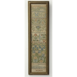 17th Century needlework band Sampler by Mary Kimesman, comprising floral bands of flower heads, acorns and leaves within geometric surrounds and alphabets in double sided frame 78cm x 17cm